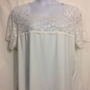 NEW Women Plus Sz 4X 26/28 White Lace Trim Shirt